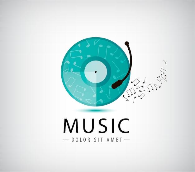 Ilustración de logo vintage retro de vinilo de música