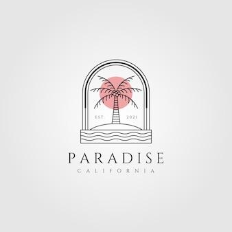 Ilustración de logotipo de arte de línea de palmera de naturaleza