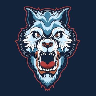 Ilustración de logotipo azul cabeza de tigre aislado en la oscuridad