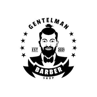 Ilustración de logotipo barber vintage badge style.