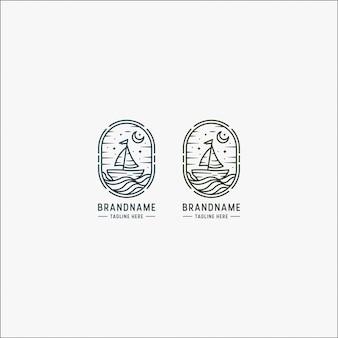 Ilustración de logotipo de barco clásico