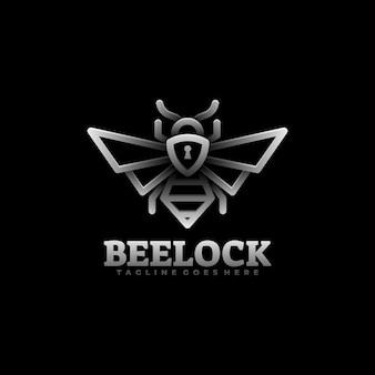 Ilustración de logotipo bee lock gradient line art style.