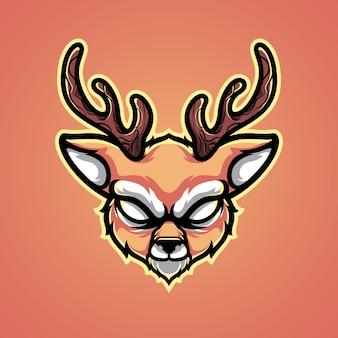 Ilustración del logotipo de cabeza de ciervo