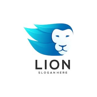 Ilustración de logotipo cabeza león estilo degradado