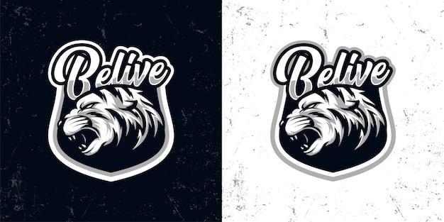 Ilustración de logotipo de cabeza de tigre enojado blanco negro vintage
