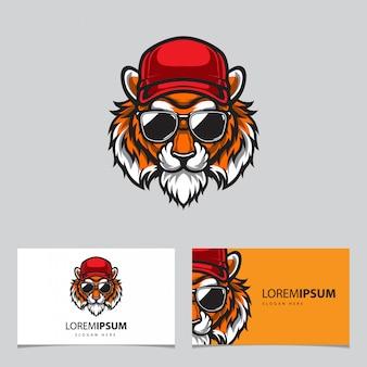 Ilustración de logotipo de cabeza de tigre