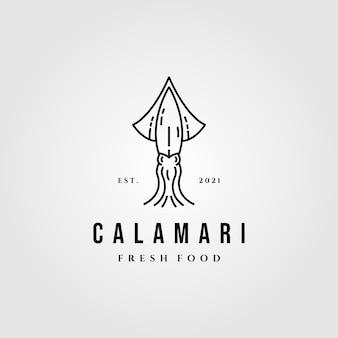 Ilustración de logotipo de calamar de arte lineal