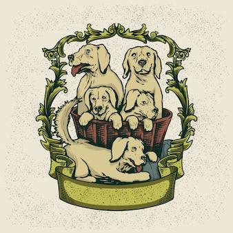 Ilustración de logotipo de casa de perro mascota