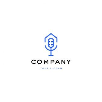 Ilustración de logotipo de casa de podcast