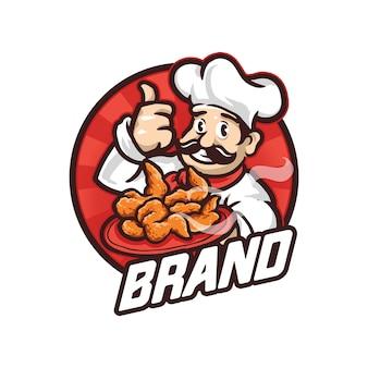 Ilustración de logotipo de chef mascot