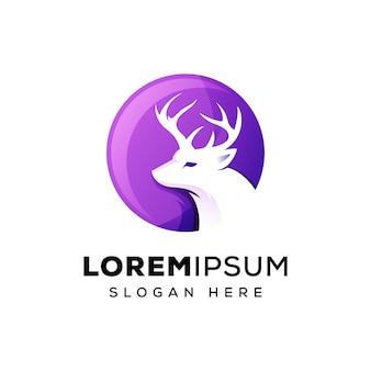 Ilustración de logotipo de ciervo de círculo