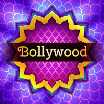 Ilustración del logotipo del cine de bollywood indio iluminado con marco de adorno de loto dorado sobre fondo violeta iluminado