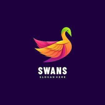 Ilustración de logotipo cisnes estilo colorido degradado.