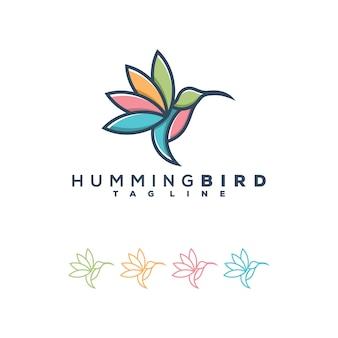 Ilustración de logotipo de colibrí