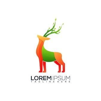 Ilustración de logotipo colorido de ciervos