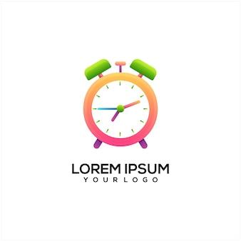 Ilustración de logotipo colorido reloj