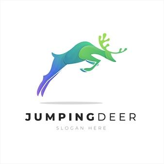 Ilustración del logotipo degradado abstracto colorido salto ciervo