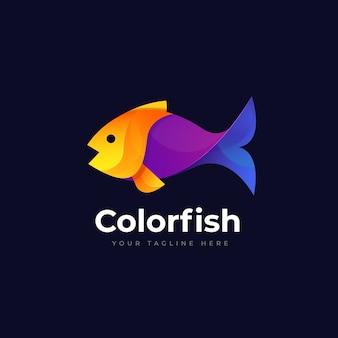 Ilustración de logotipo degradado de pescado con estilo colorido