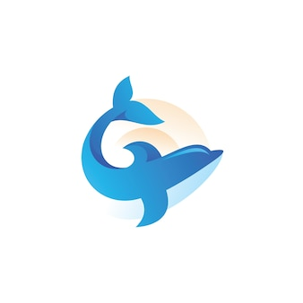 Ilustración del logotipo de delfines peces mamíferos