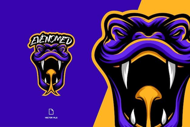 Ilustración de logotipo de dibujos animados de personaje de mascota de cabeza de serpiente venenosa