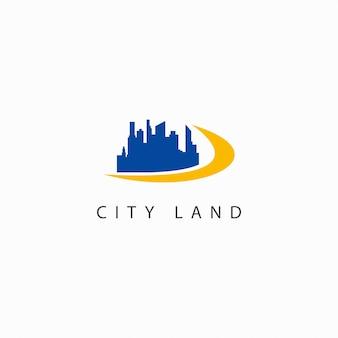 Ilustración de logotipo de diseño de plantilla de vector de tierra de ciudad