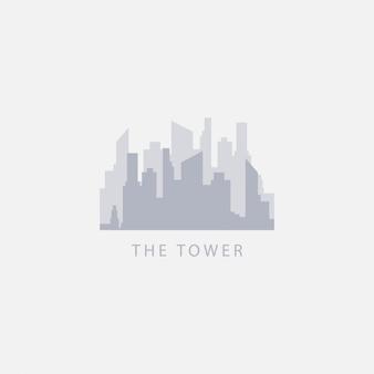La ilustración del logotipo del diseño de la plantilla del vector de la torre