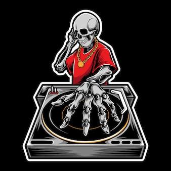 Ilustración de logotipo de dj cráneo