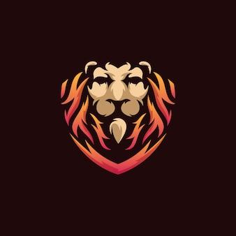 Ilustración de logotipo de escudo de león