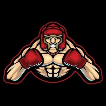 Ilustración del logotipo de esport de entrenador de boxeo