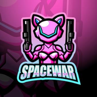 Ilustración de logotipo de esport de mascota de guerra espacial