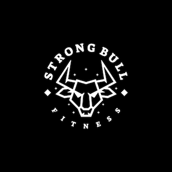 Ilustración de logotipo estilo de arte de línea de toro fuerte.