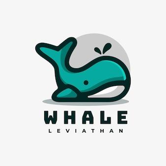 Ilustración de logotipo estilo ballena mascota simple.
