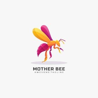 Ilustración de logotipo estilo colorido degradado de abeja madre.