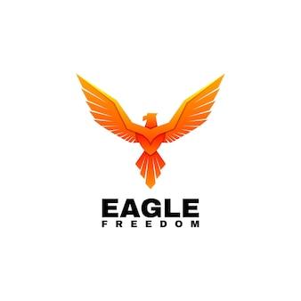 Ilustración de logotipo estilo colorido degradado de águila.
