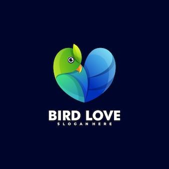 Ilustración de logotipo estilo colorido degradado de amor de pájaro.