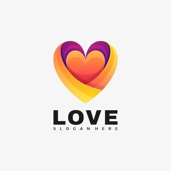 Ilustración de logotipo estilo colorido degradado de amor.