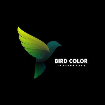 Ilustración de logotipo estilo colorido degradado de aves.