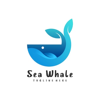 Ilustración de logotipo estilo colorido degradado ballena
