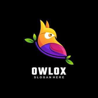 Ilustración de logotipo estilo colorido degradado de búho.