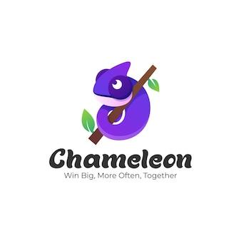 Ilustración de logotipo estilo colorido degradado de camaleón.