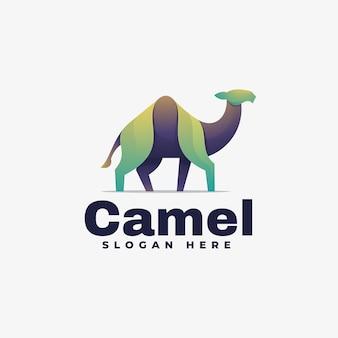 Ilustración de logotipo estilo colorido degradado de camello.