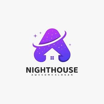 Ilustración de logotipo estilo colorido degradado de la casa de noche.
