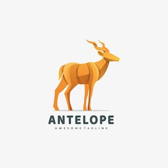 Ilustración de logotipo estilo colorido degradado de ciervos.