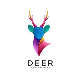 Ilustración de logotipo estilo colorido degradado de ciervos