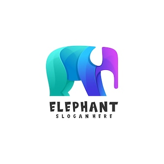 Ilustración de logotipo estilo colorido degradado de elefante.