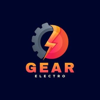 Ilustración de logotipo estilo colorido degradado de engranajes.
