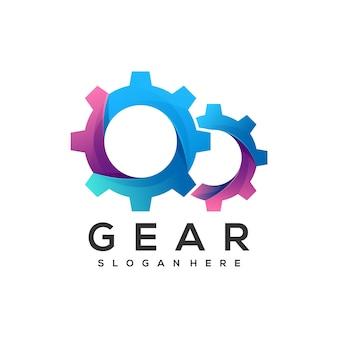 Ilustración de logotipo estilo colorido degradado de engranajes