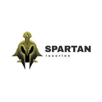 Ilustración de logotipo estilo colorido degradado espartano.