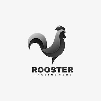 Ilustración de logotipo estilo colorido degradado de gallo.