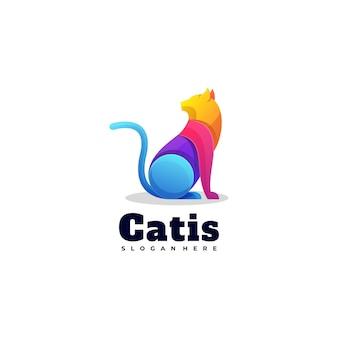 Ilustración de logotipo estilo colorido degradado de gato.